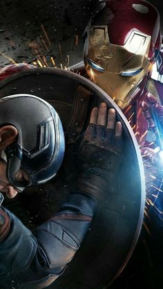Close up picture of Iron Man versus Captain America
