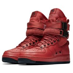 Nike Air Force 1 dressed in Oxy Blood and Black Traniers Latest Sneakers, Sneakers Fashion, Fashion Shoes, Military Shoes, High Top Sneakers, Sneakers Nike, Nike Trainers, Nike Sf Af1, Air Force