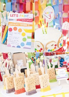 "Rainbow Paint Party color toddler preschool birthday – Colorful candy displayed in clear paint cans with cute paintbrush labels – Painters palette cookies made with m and vanilla frosting – ""Artist Tools"" utensil packets in awesome orange chevron bags Art Birthday, Birthday Parties, Happy Birthday, Preschool Birthday, Toddler Preschool, Birthday Ideas, Kid Parties, Rainbow Birthday, Kunst Party"
