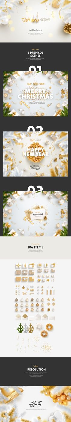 Gold & White - Christmas, New Year Pack on Behance