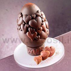 Stampo per realizzare uovo di cioccolato con cuori www.decosil.it - Chocolate Mould for Hearts Egg www.decosil.eu - moules à chocolat pour Oeuf de Pâques www.decosil.fr