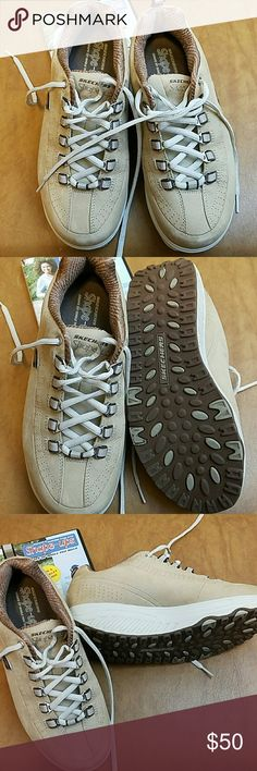 Skechers shape-ups sneakers Skechers shape-ups sneakers  Size 7 Tan color Worn inside only  Comes with DVD Skechers Shoes Sneakers