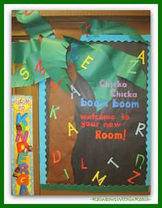 Chicka Chicka Boom Boom, Welcome to the Kindergarten Rooms another K hallway idea 200  Back to School Bulletin Boards and Decorated Classroom Doors!
