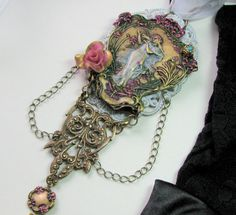 Vintage Inspired Bridal Necklace  Woodland by VRBBoutique. Inspired by Chatelaine 'badge' jewelry... from the middle ages the Chatelaine was teh 'keeper of the keys' when the 'lord' of the property was away. Could be from a Kingdom to a simple manor house... the person who wore this piece was 'in charge of all the wealth' of the property (or kingdom or estate etc) and had full say. It was RARELY the wife unless it was her property to begin with!