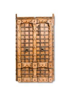 Antique Door with Wrought Iron Inserts - Fama Design Corp. Indian Doors, Indian Crafts, Dutch Door, Door Pulls, Rustic Charm, Wood Doors, Wrought Iron, Hardwood, Crossword