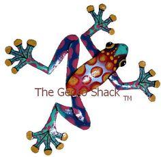 Frog Garden Art colourful Metal Home & Garden Wall Decor or Deck Ornament FC-9