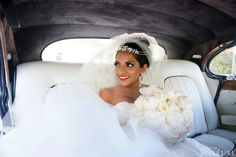 """Bisou Bride, Sharon!  Married June 7th 2014, wearing two gowns from Bisou!  For her reception gown, Sharon wore style #1323 from the BLISS by Monique Lhuillier collection; for the reception, she wore """"Elsa"""" by Elizabeth Fillmore!  **Featured in WedLuxe Magazine**"""