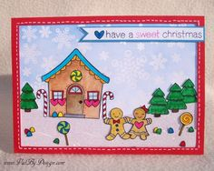 Gingerbread people and an adorable gingerbread house make the cutest Holiday card. And Tombow Markers bring it all to life with beautiful colors.