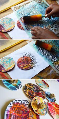 print making printmaking Stenciled Wall Decor: Paper Fans Gelli Printing, Stencil Printing, Paper Fans, Stencil Art, Wall Stenciling, Painting Stencils, Mark Making, Art Plastique, Teaching Art
