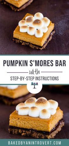 Easy Chocolate Desserts, Easy Desserts, Delicious Desserts, Dessert Recipes, Dessert Ideas, Recipe Using Pumpkin, Pumpkin Recipes, Classic Brownies Recipe, S'mores Bar