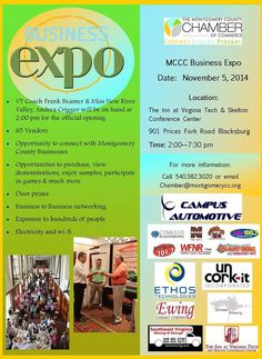 The Montgomery County Chamber of Commerce presents their 2014 Business Expo on Wednesday, November 5th at The Inn at Virginia Tech and Skelton Conference Center.