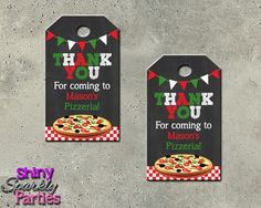 Printable Pizza Party Favor Tags (Digital File Only)