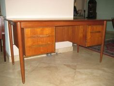 Vintage Midcentury Danish Modern Teak Desk Selig - ebay :: $5000