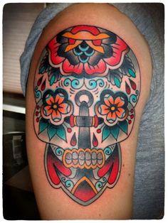 anchor sugar skull tattoo