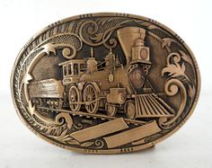 1986 Train Belt Buckle Solid Brass UPOTGC by honeyblossomstudio