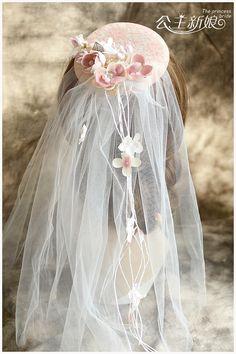 Bridal Simulated Pearl Flower Topper Veil Tiara Wedding Hair Accessories Jewelry Sweet Novia Casamento Acessorios Para Mulher