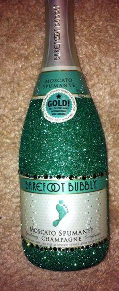 glitter glasses   Handmade on Etsy! Bottles for hostess gifts or parties with Swarovski ...