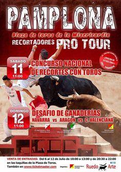 Recortes con toros en #Pamplona por #Sanfermin el 11 de julio a las 11.00 y el 12.00 a las 11.00 #Navarra