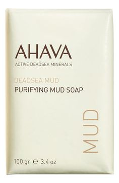 AHAVA Purifying Mud Soap available at #Nordstrom $10.00 AHAVA's Mud Soap contains deep-cleansing properties inherent in the mineral-rich Dead Sea mud. Perfect for oily skin, it removes acne-causing oils without drying. Scrubs away dirt and environmental pollutants trapped in oily skin.