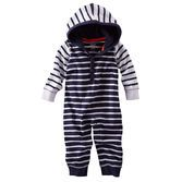 He's nice and nautical in this hooded striped jumpsuit. The contrasting stripes on the arms and hood make this piece a cozy style statement.