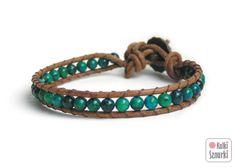 www.facebook.com/... Kulki Sznurki-biżutera personalizowana. Handmade jewellery. Wrap bracelets on leather #bracelet #bransoletka #green #walentynki #valentinesday #prezenty