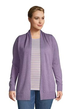 Women's Plus Size Cotton Open Long Cardigan Sweater | Lands' End Long Cardigan, Sweater Cardigan, Cardigans, Sweaters, Lands End, Rib Knit, Plus Size, Elegant, Chic