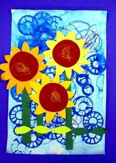Zonnebloemen op een gestempelde achtergrond