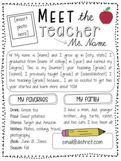 "It's Back to School time! Please enjoy this free ""Meet the Teacher"" page tha It's Back to School time! Please enjoy this free ""Meet the Teacher"" page tha… – Kindergarten Lesson Plans Back To School Night, 1st Day Of School, Beginning Of The School Year, Back To School Teacher, Carta Para O Professor, Teacher Page, Teacher Forms, Teacher Tips, Teacher Pay Teachers"