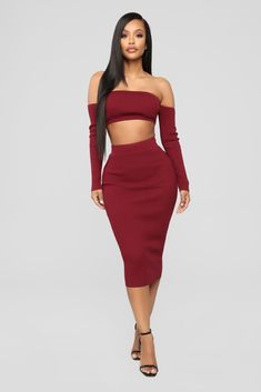 ae825beb0ec All Set Sweater Skirt Set - Burgundy