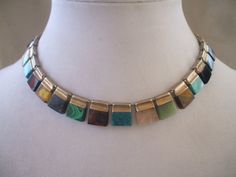 Vintage TAXCO MEXICO 925 Sterling Silver Choker NECKLACE Turquoise, Malachite, Sugilite, Sodalite, Amber, Jet, Tiger's Eye, Azurite, Onyx
