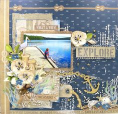 Scraps Of Darkness scrapbook kits: mixed media summer / beach layout w/our June2017 Seaside kit, by Kathy Mosher - Kaisercraft High Tide