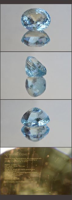 Impressive large slightly greenish Blue Aquamarine with superb color, saturation and clarity. Perfect for a pendant or ring. Oval cut. 11.20 ct. Loose Aquamarine Gemstones for sale MdMaya Gems