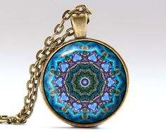 Beautiful Hippie necklace. Nice Mandala jewelry in bronze or silver finish. Awesome Esoteric pendant with a chain or a leather cord. SIZE: 25 mm (1