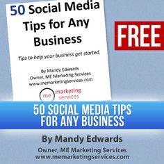 "Love #socialmedia tips?  Get your FREE copy of ""50 Social Media Tips for Any Business""!      https://www.facebook.com/memarketingservices/app_102068836552678"