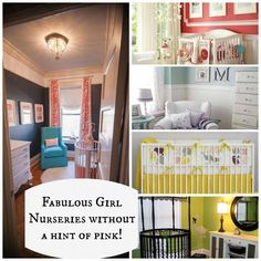 The most darling nurseries ideas {NO PINK} Don't get carried away in pink when you can have these beautify color schemes that will be perfect for your little bundle of joy! Check out the whole collection at Designdazzle.com