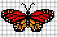 ideas for knitting charts butterfly perler beads Bead Loom Patterns, Perler Patterns, Beading Patterns, Cross Stitch Patterns, Perler Bead Art, Perler Beads, Pixel Art, Butterfly Cross Stitch, Butterfly Pattern