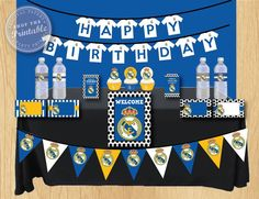 Real Madrid Birthday Party Package Soccer Birthday Party Thank you tag, water bottle label, food card, toppers, banner by shoptheprintable on Etsy Soccer Birthday Parties, Sports Birthday, Soccer Party, Fiesta Party, Happy Birthday Cards, Real Madrid, Party Themes, Party Package, Birthdays