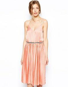 ASOS Pleated Embellished Waist Midi Dress $103.48