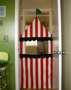 puppet theatre tutorial - great use for red and white stripe fabric