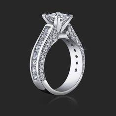 Princess Engagement Ring With Channel Set Princess Cut Diamonds