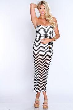 White Black Two Tone Chevron Summer Maxi Dress