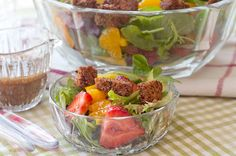 Spring Salad with Strawberries and Sweet Balsamic Dressing from @NevrEnoughThyme http://www.lanascooking.com/2012/03/27/spring-salad-with-strawberries-and-sweet-balsamic-dressing/ #salads #spring #strawberries