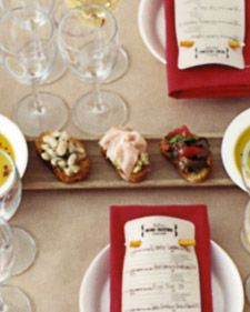 """At a wine-tasting party, have guests graze on basic but filling, dinner-worthy fare such as cheese, prosciutto, bruschetta, fruit, and a little something """"dolce""""."""