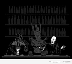 Vader, Sauron and Voldemort chillin' like a villain