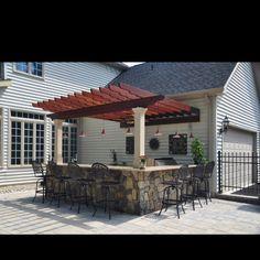 Outdoor bar! Gotta love it. Outdoor Kitchen Patio, Outdoor Kitchen Design, Outdoor Rooms, Outdoor Living, Outdoor Kitchens, Diy Patio, Outdoor Showers, Backyard Bar, Patio Bar