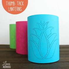 Thumb Tack Paper Lanterns - All you need is some cardstock, scissors, tape, and a thumb tack to create these cool paper lanterns.