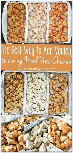 How to Add Variety to Meal Prep Chicken! Add variety to that boring meal prep chicken with these three delicious clean-eating marinades! Separate a cookie sheet into thirds using tinfoil and create three different flavors of chicken for your meal plans! Healthy Snacks, Healthy Recipes, Healthy Chicken Recipes For Weight Loss Clean Eating, Healthy Weekly Meal Prep, Meal Prep Keto, Healthy Meal Planning, Clean Chicken Recipes, Meal Prep Plans, Clean Eating Chicken