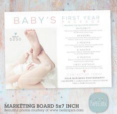Super charge your Mini Sessions with this sweet marketing board. Use this board to gain a full year of sessions for your baby clients.    This