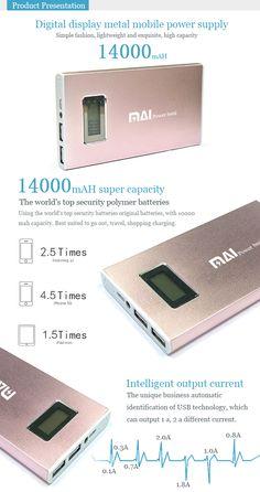 MAI-023 14000mAH Intelligent digital display metal mobile power supply for iPhone 5 5S 5C/iPad 4 Mini Air - See more at: http://www.maidipower.com/14000mah-intelligent-digital-display-metal-mobile-power-supply.html#sthash.esVwljrC.dpuf