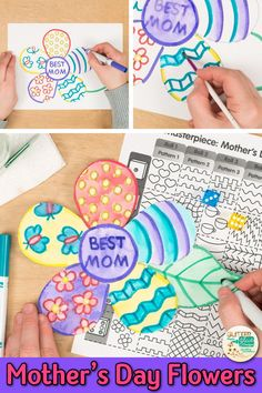 Flower game for Mother & Day Art Lessons byGlitter meets glue, Art Games For Kids, Art Lessons For Kids, Projects For Kids, Art Projects, Crafts For Kids, Diy Crafts, Early Finishers Activities, Mother's Day Activities, Spring Activities